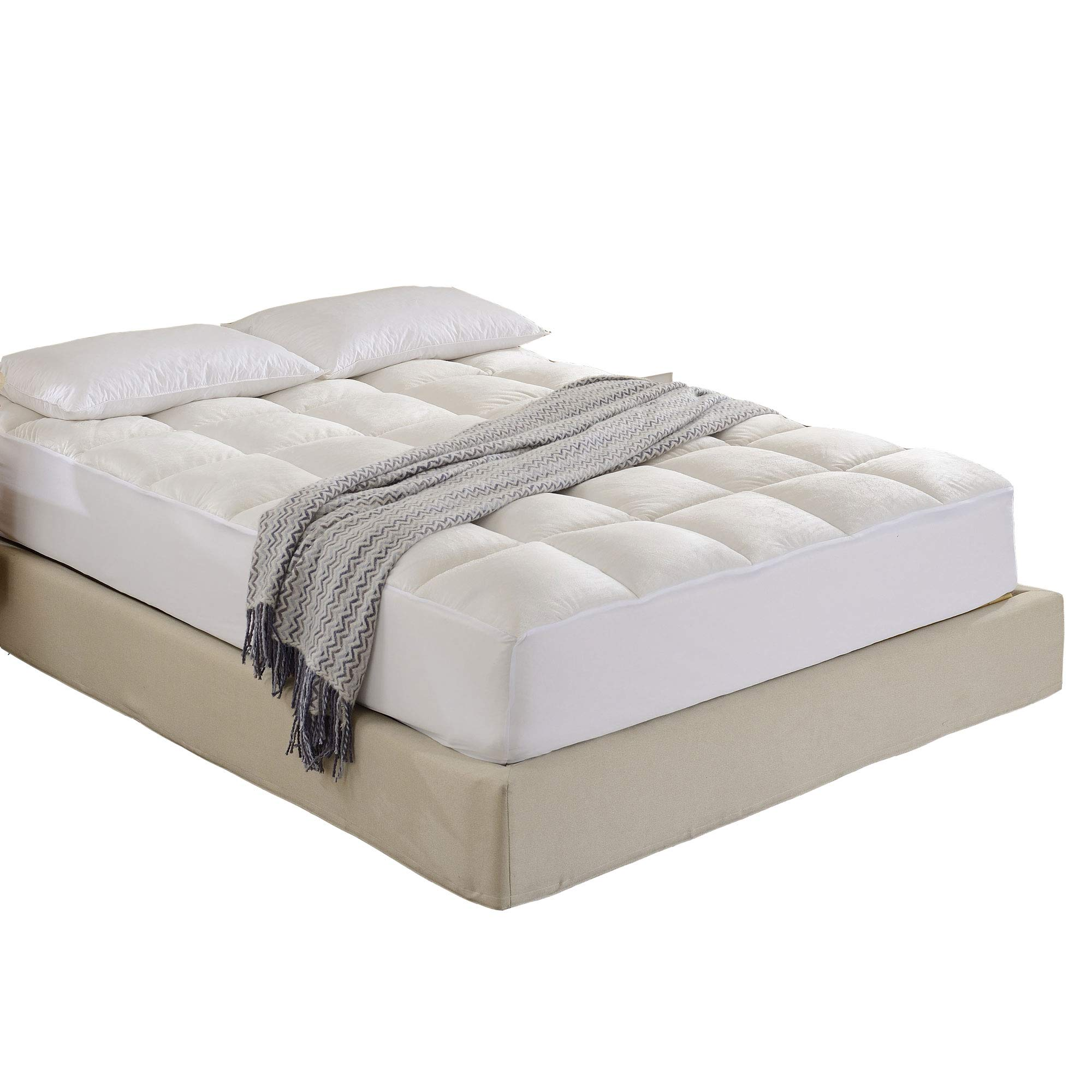 Cheer Collection Super Luxurious Ultra Soft Overfilled Microplush Fitted Mattress Topper - Full