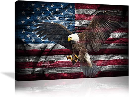 """Patriotic Bald Eagle American Flag 42/"""" x24/"""" LARGE WALL POSTER PRINT NEW."""