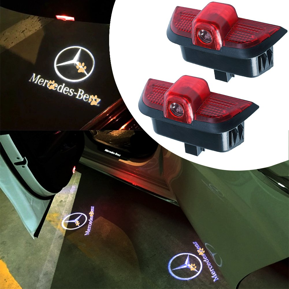 JKCOVER for Mercedes Benz C Class White, Car Door LED Welcome Projector Blue Circle Logo Ghost Shadow Door Light - 2pcs