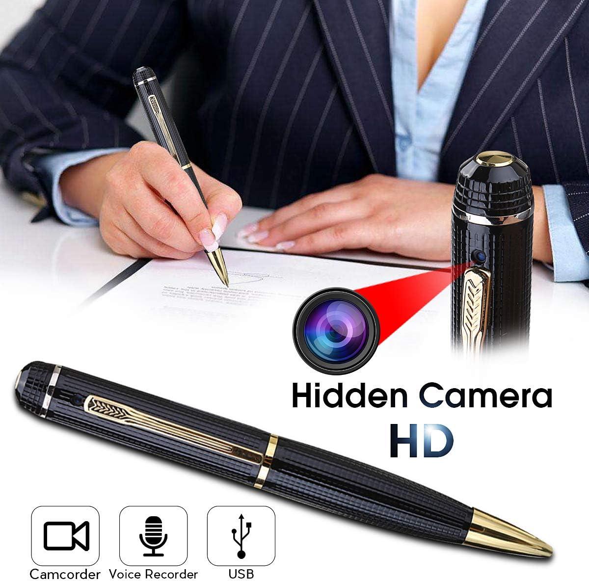 color negro y dorado foto y v/ídeo HD Bol/ígrafo con c/ámara de esp/ía y grabadora de Audio