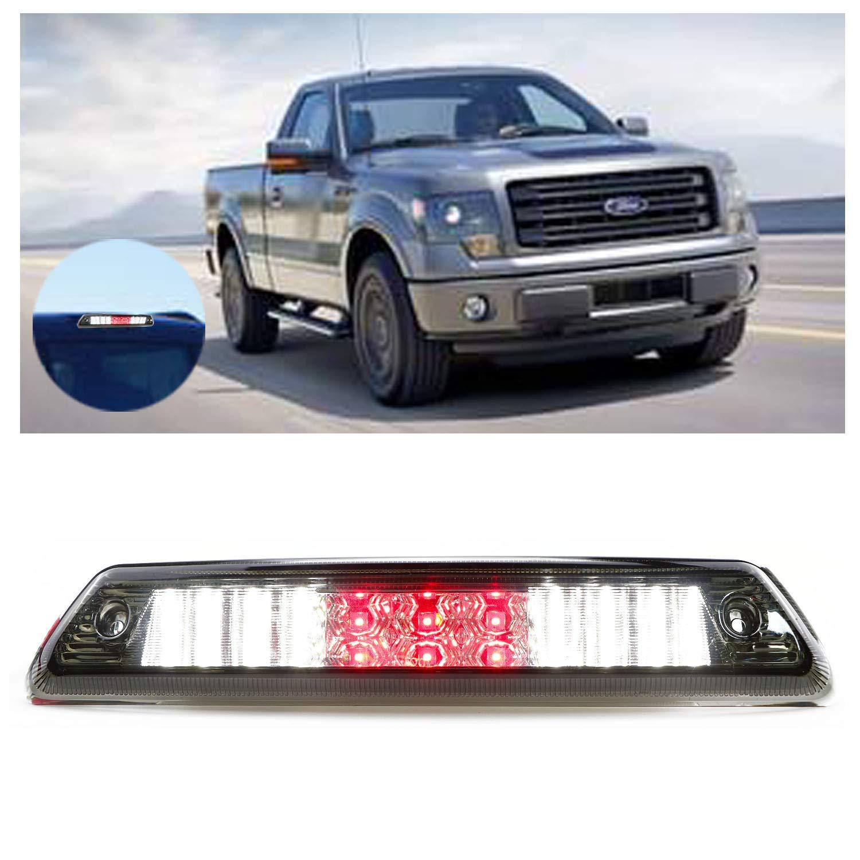 for 2009-2014 Ford F150 LED Bar 3rd Third Tail Brake Light Rear Cargo Lamp High Mount Stop light Chrome Housing Smoke Lens
