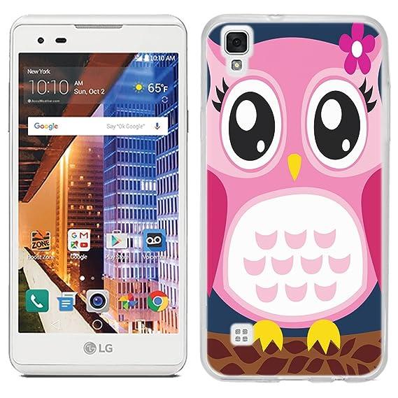 LG Tribute HD case - [Pink Owl] (Crystal Clear) PaletteShield Soft Flexible  TPU gel skin phone cover (fit LG Tribute HD)