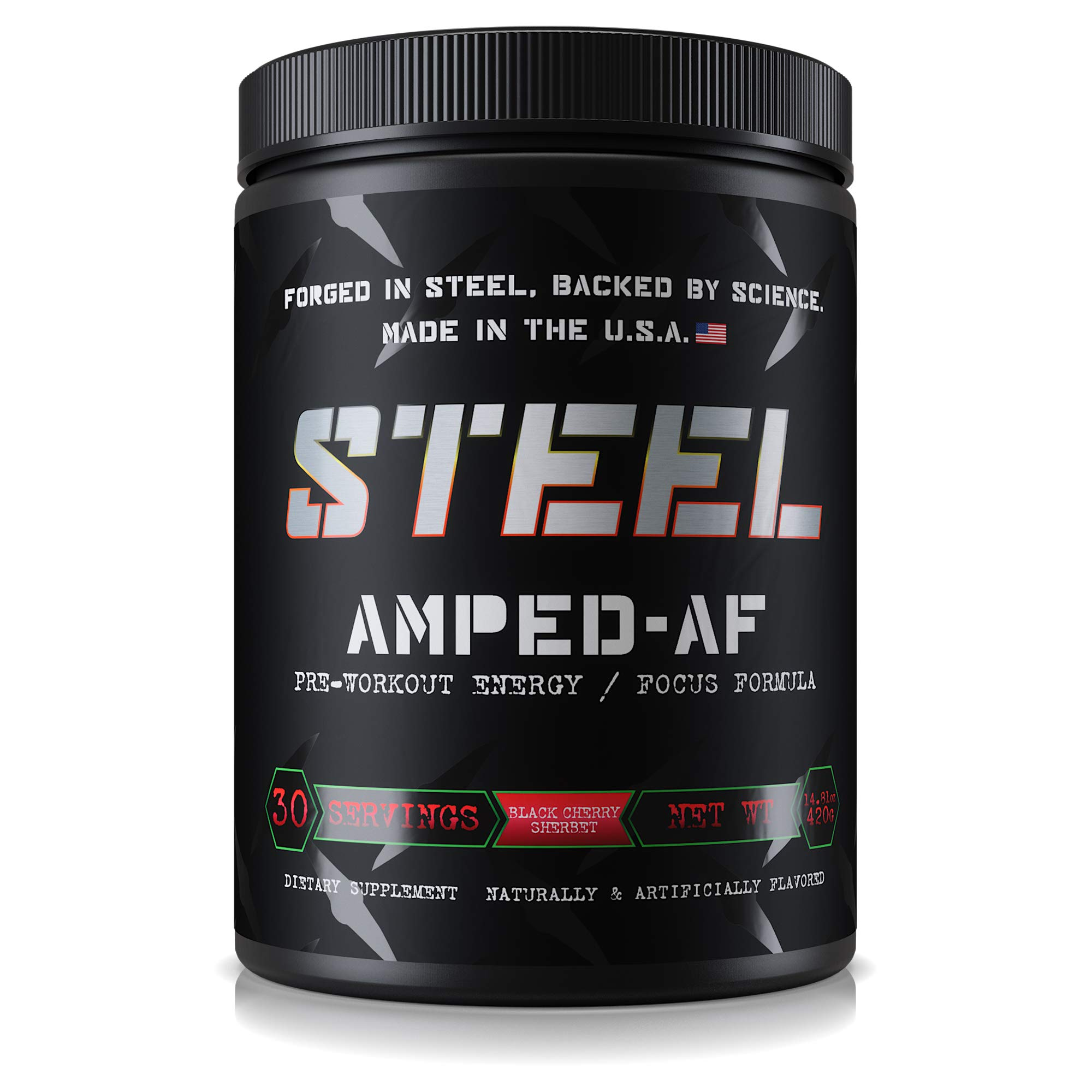 Steel Supplements Amped-AF Pre Workout Powder Energy Drink One3 Enhanced with Vitamins B6 and B12 High Intensity 30 Servings (Black Cherry Sherbet)