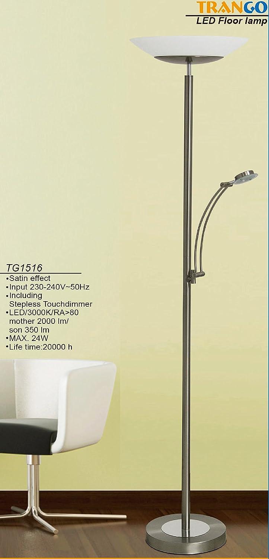 Trango LED Stehleuchte TG1516 Stehlampe mit 24 Watt - 2350 Lumen gesamt Lichtleistung, stufenlos dimmbar - Lesearm ist schwenkbar Tg1516 Deckenfluter