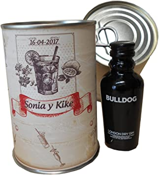 Botellin miniatura Ginebra Gin Bulldog en lata personalizada con ...