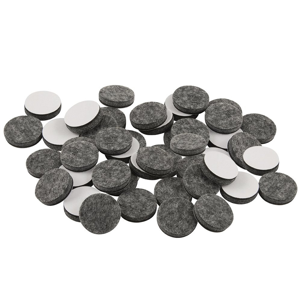 SoftTouch 4749095N Self Stick Felt Furniture Pads for Hardwood Floors 1'' Gray, Round (48 Pieces), 1 Inch