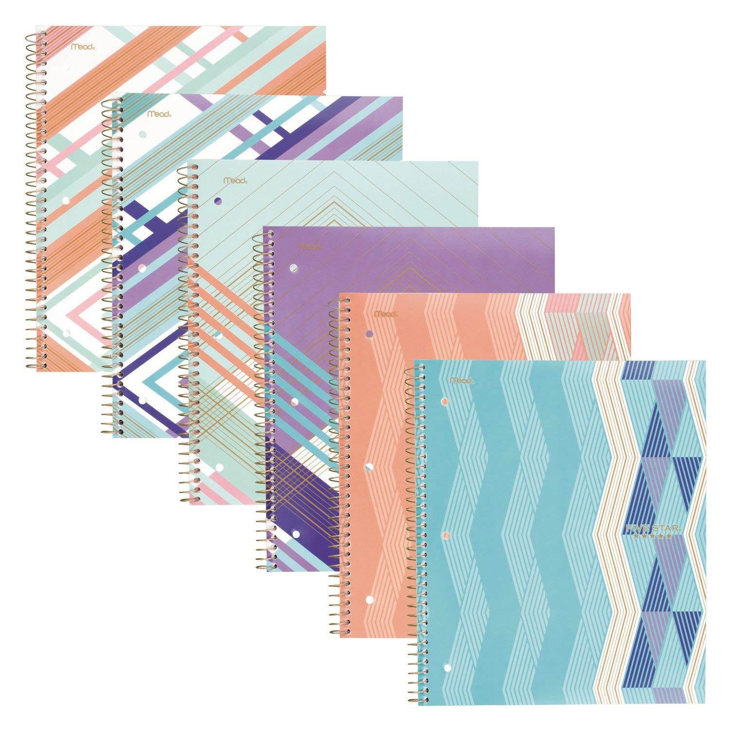 Five Star Spiral Notebooks, 1 Subject, College Ruled Paper, 100 Sheets, 11'' x 8-1/2'', Graphics Design, 6 Pack (38507)