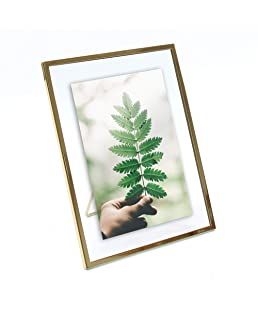 MIMOSA MOMENTS Gold Metal Floating Pressed Glass Picture Frame with Metal Easel, Photo Display for Desk (Gold, 5x7)