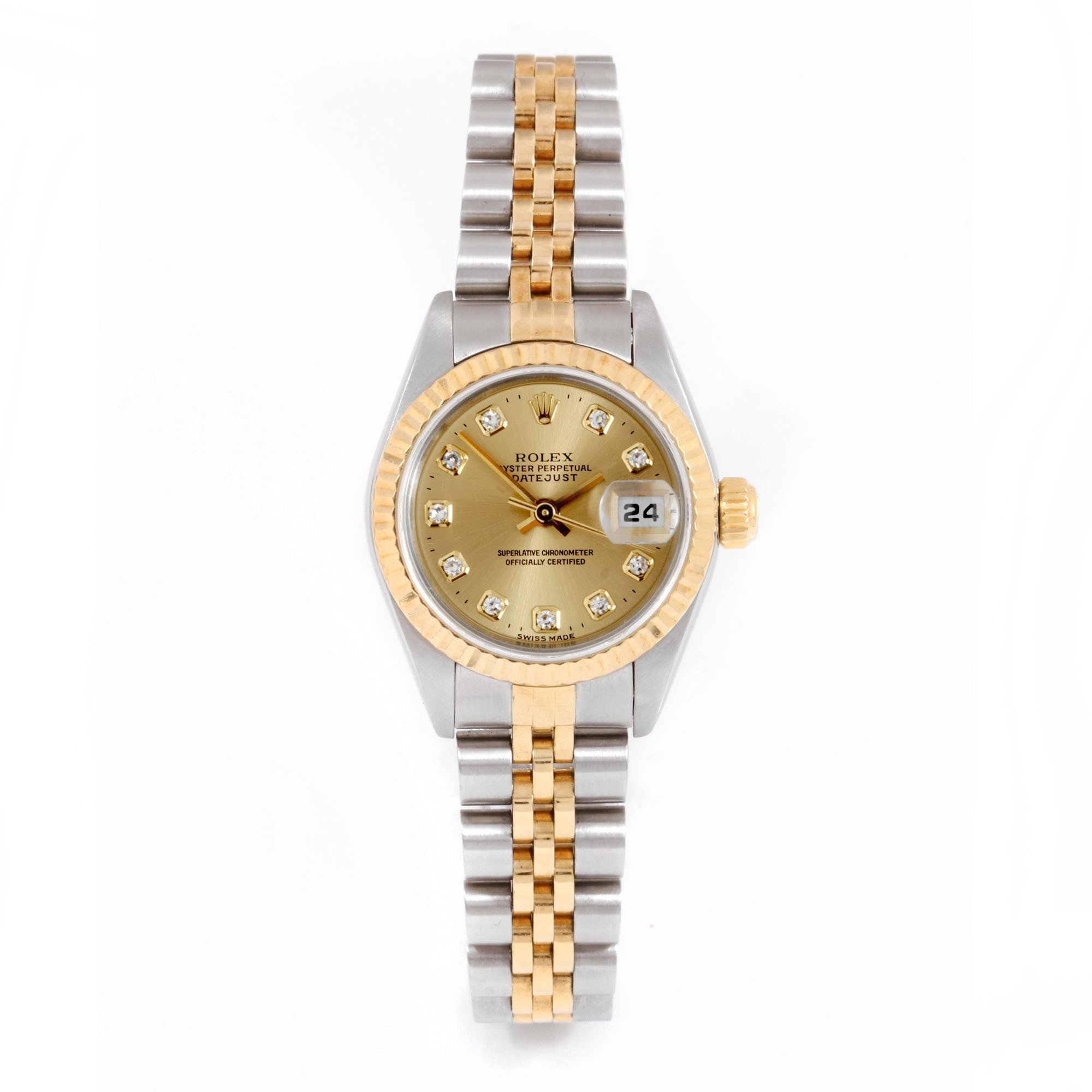 Rolex Ladies 26mm Stainless Steel & 18k Yellow Gold Datejust Swiss-Automatic Watch - 79173 - Champagne Diamond Dial - Fluted Bezel - Jubilee Band (Certified Pre-owned)