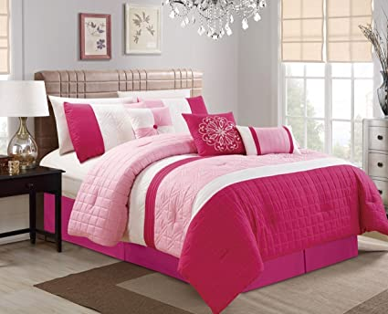 Modern 7 Piece Bedding Hot Pink Light Pink White Pin Tuck Embossed  (California) Cal King Comforter Set with accent pillows