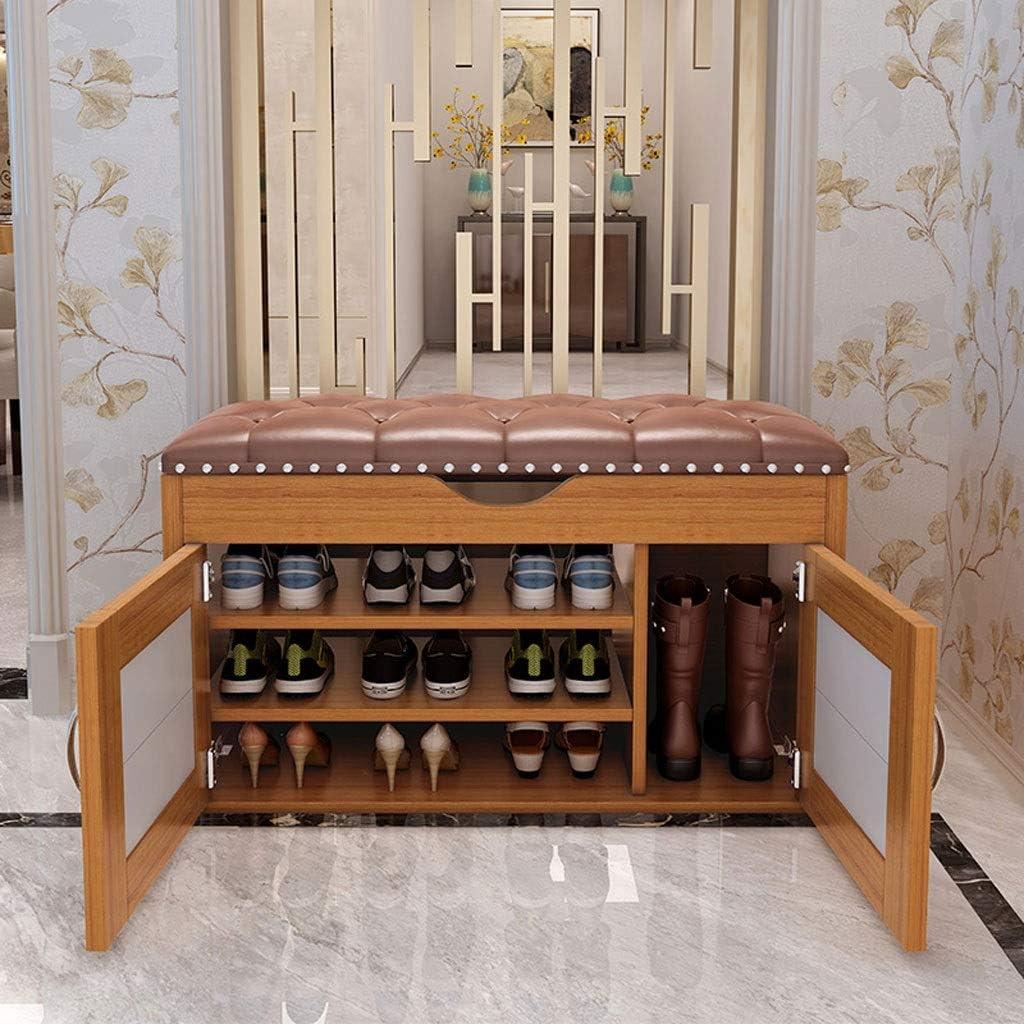 玄関ベンチ 収納ベンチ付き3段収納層木製靴ラック別のデザインキャビネット靴ベンチシート収納オーガナイザー用廊下玄関リビングルーム100X35X56CM (Color : Wood)