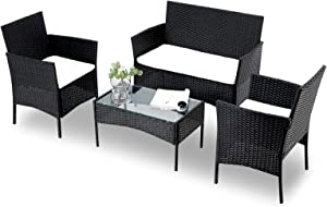 4-Piece Outdoor Patio Furniture Sets Rattan Chair GTQuality Wicker Patio Armchair Sofa Set with Seat Cushion and Coffee Table Conversation Sets for Garden Indoor Porch Poolside Balcony (Black)