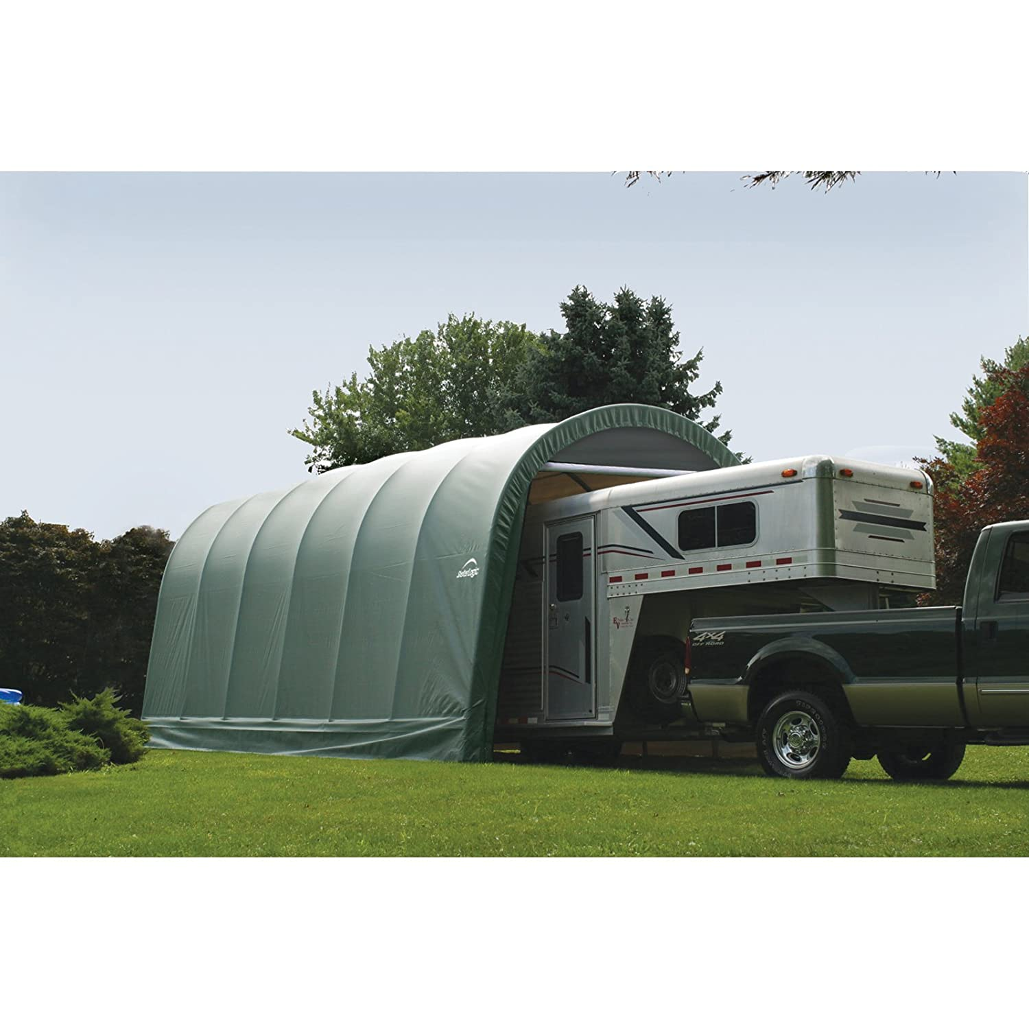 in x shop product tools garage peak l storage shelter wide style box a green double shelterlogic