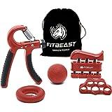 Fortalecedor de agarre de mano Kit de entrenamiento de agarre de antebrazo: paquete de 5, agarrador de mano ajustable…