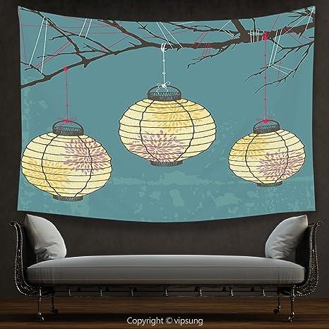 Arazzo lanterna decorazioni casa tre lanterne di carta appeso alla ...
