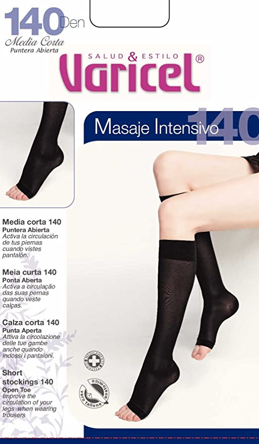 Media Corta 140 Varicel Puntera Abierta compresión fuerte 18/22 mmHg Banda Elástica Antipresión (