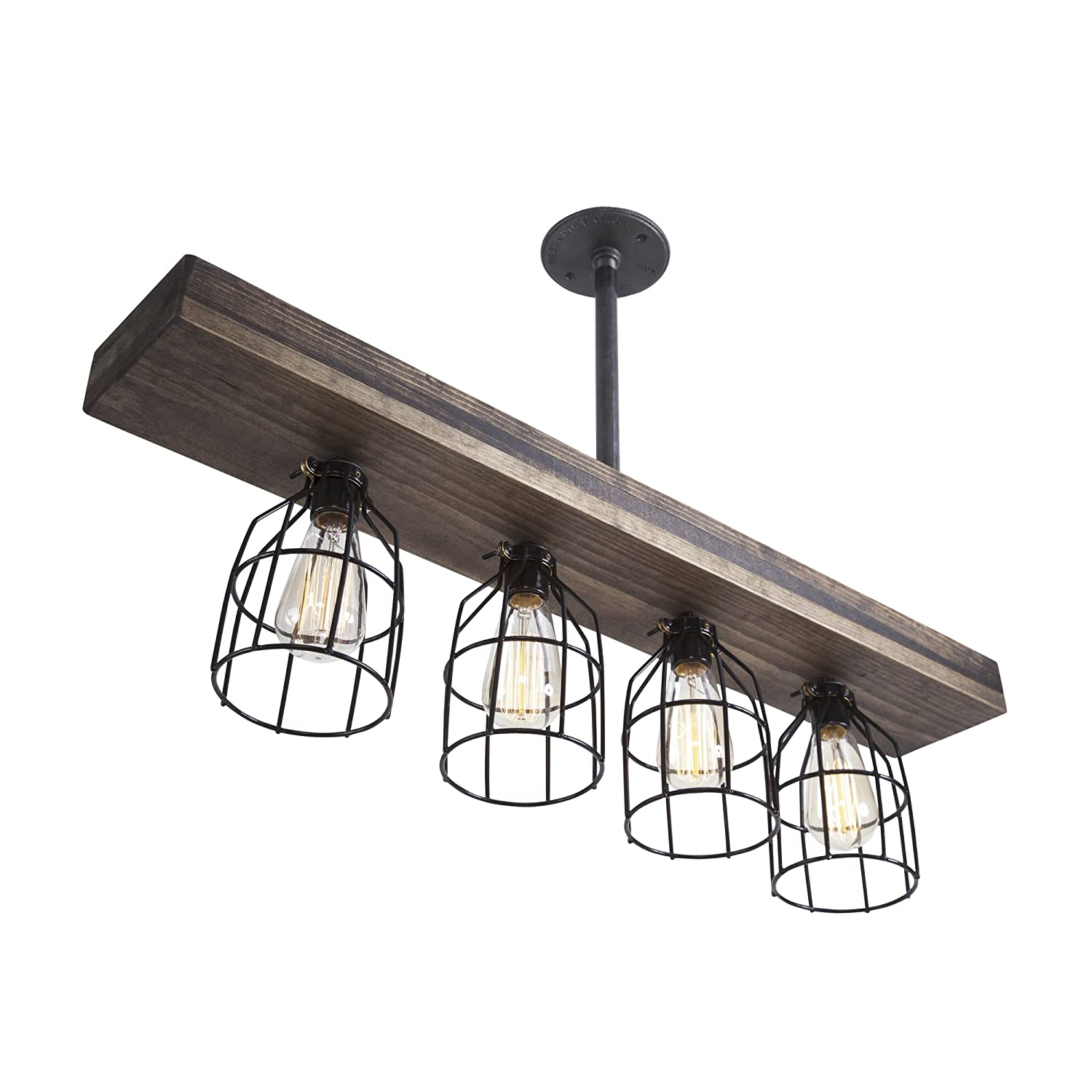 West Ninth Vintage Pendant Farmhouse Chandelier Fixture | Fayette Triple Wood Beam Light Mixed With Stained Wood Beam And Metal Light Cages