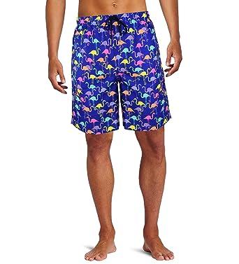 2d2183ff69150 Men's Hawaiian Swim Trunk Beach Shorts Swimwear Flamingo Printed with Mesh  Lining | Amazon.com