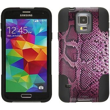 Samsung Galaxy S5 carcasa híbrida rosa estilo de piel de ...