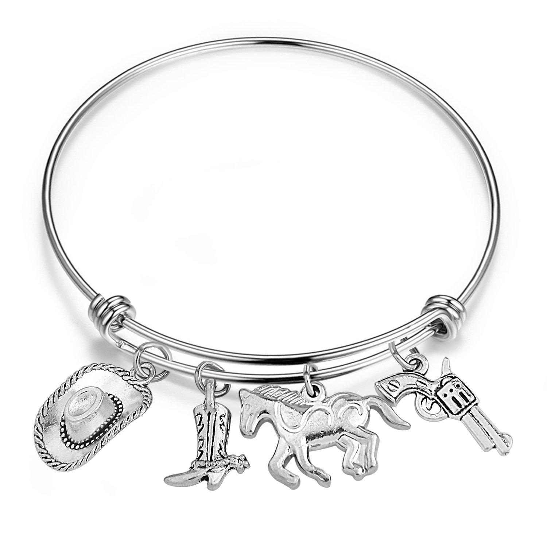 SEIRAA Cowboy Bangle Cowboy Charm Bracelet Personalized Expandable Wire Bangle Perfect Gift For Cowboy (Cowboy bangle)