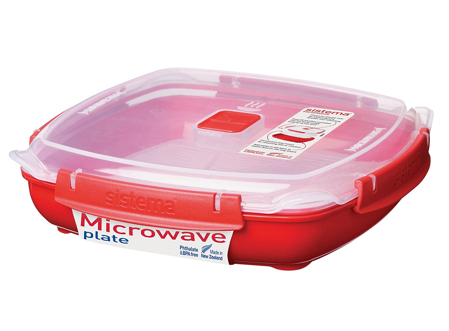 Sistema Microwave Collection Plate with Removable Steaming Rack, Large, 43.9 oz./1.3 L, Red
