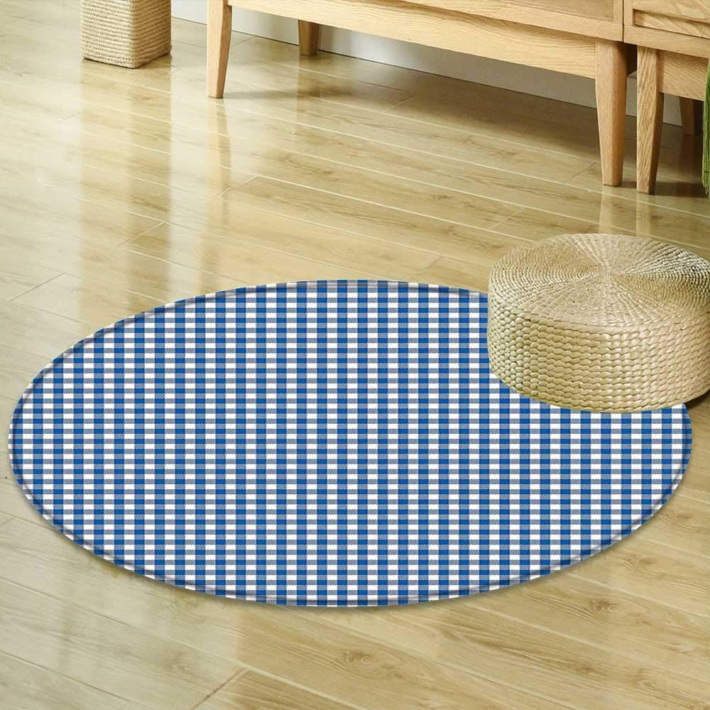 Non Slip Round Rugs Abstract Picnic Table Style Simplistic Two Colored Bands Kitchen Overlapping Motif Violet Blue White Decor Oriental Floor and Carpets R-24