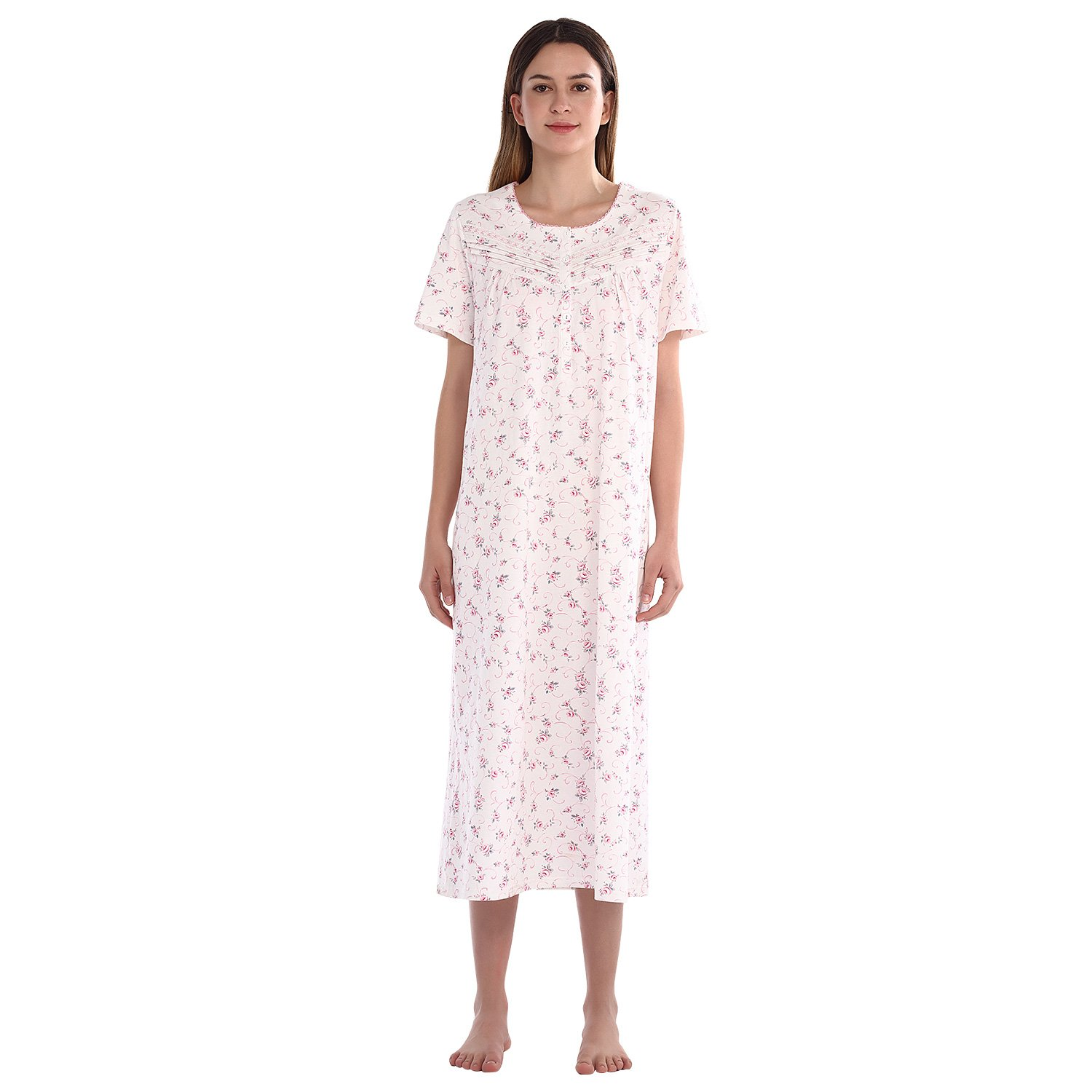 4d9c340669 STYLE - This style is a short sleeve full length nightgown which is made  from 100% cotton knitted fabric. The fabric is lightweight and breathable
