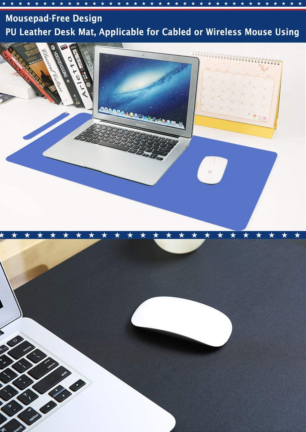 Clear Desk Pad Blotter Mats Office Clear Table Protector on Top of Desks for Laptop Computer Desktop Keyboard Pads Plastic Vinyl PVC Wipeable Waterproof with Mouse Pad Mat Extra Large 24 x 48
