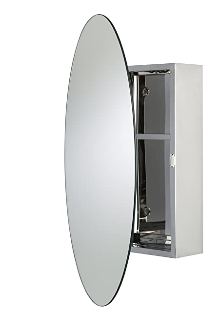 Croydex Tay Stainless Steel Oval Medicine Cabinet With Over Hanging Mirror  Door, 25.6 X 17.7