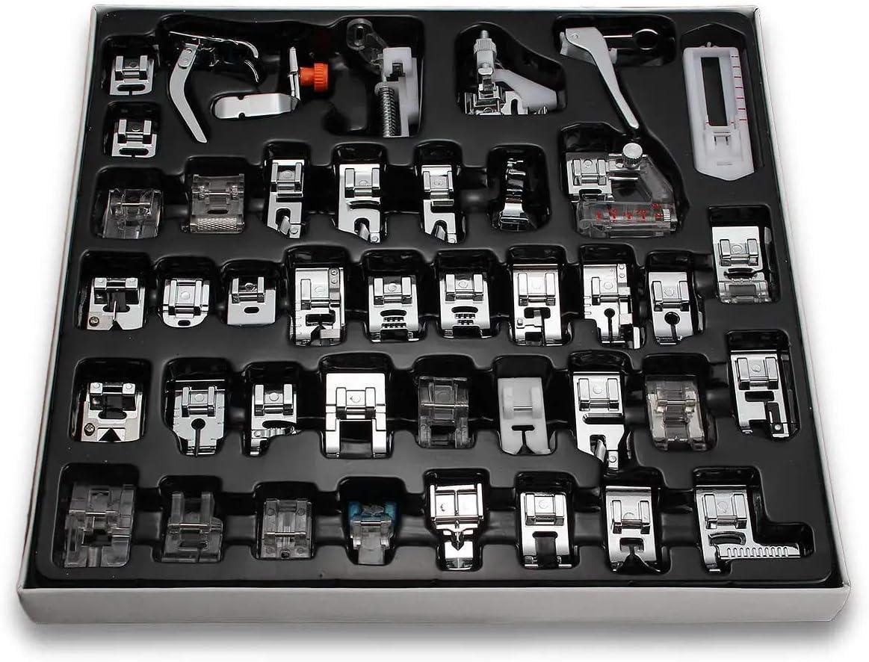 Jackallo 42 Piezas Profesional Máquina de Coser Doméstica Prensatelas Kit de Accesorios de Máquina de Coser para Hermano Babylock Cantante Janome Kenmore