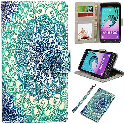 Galaxy On5 Case, UrSpeedtekLive Samsung On5 Wallet Case, Premium PU Leather Flip Wallet Case Cover with Card Slots & Kickstand for Samsung Galaxy On5 - Mandala Flower Pattern