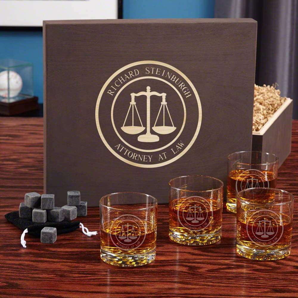 Scales of Justice Whiskey Stone Gift Set (Customizable Product)
