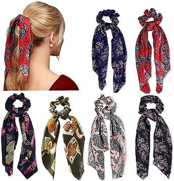 Femmes Satin Soyeux chouchous élastique Long Ruban Cheveux corde bande queue de cheval écharpe