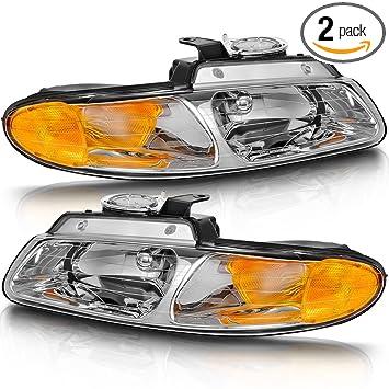 1996-2000 Dodge Grand Caravan Town /& Country Pair Black Clear Headlights+Amber