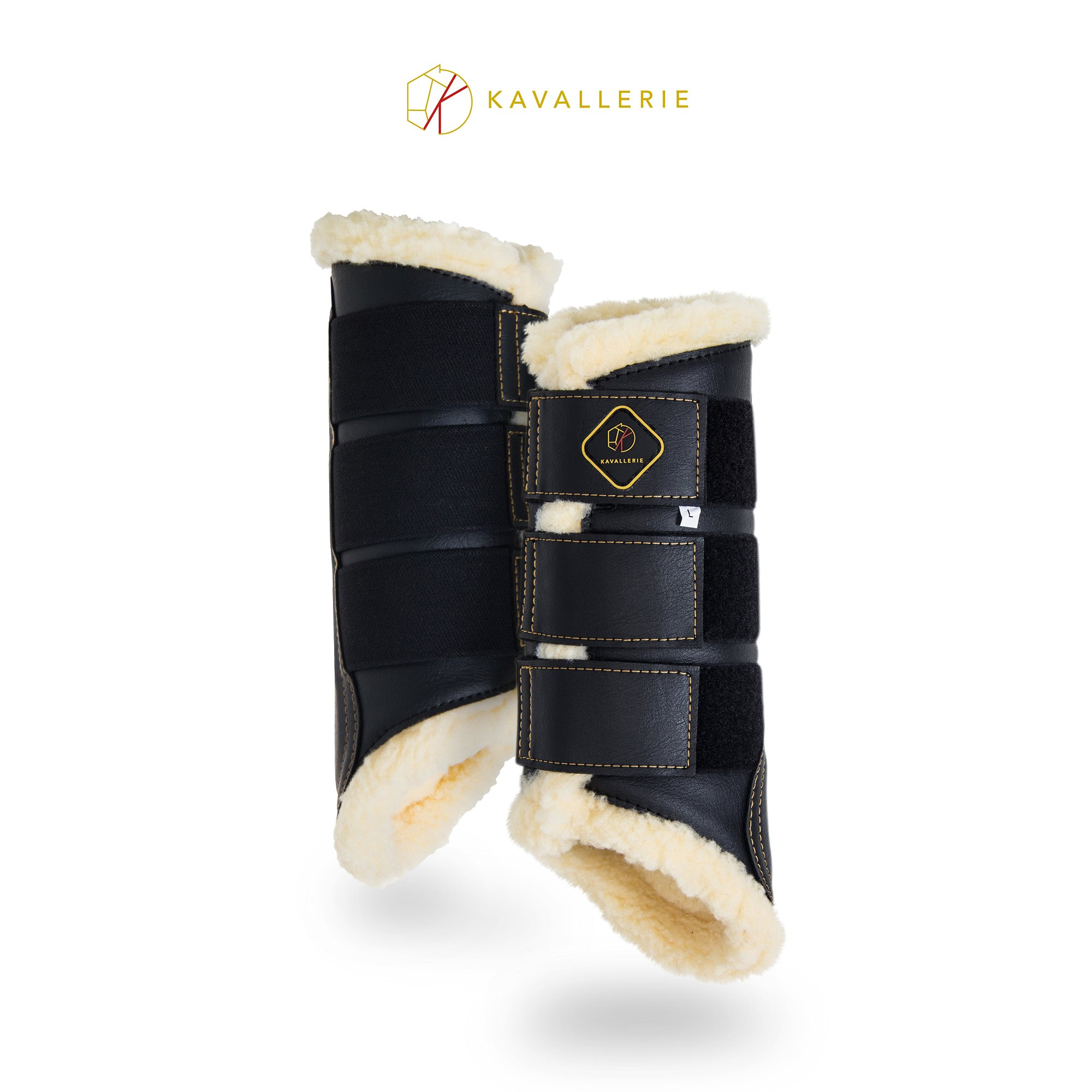 Kavallerie Dressage Horse Boots: Fleece-Lined Faux Leather Brushing Boots for Training, Jumping, Riding, Eventing - Breathable, Lightweight & Impact-Absorbing Black