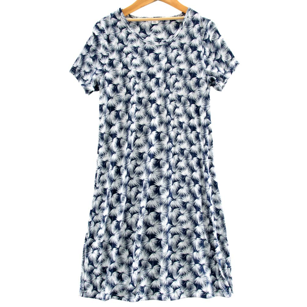 ENJOYNIGHT Women's Sleepwear Cotton Sleep Tee Short Sleeves Print Sleepshirt (Large, Dandelion)