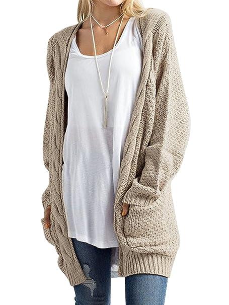 1312df6159e921 DYLH Cardigan Donna Lungo Maglione Maglia Sweater Cappotto Anteriore Aperto  con Tasca Maglioni Autunno Inverno Rosso Beige Blue Nero: Amazon.it: ...