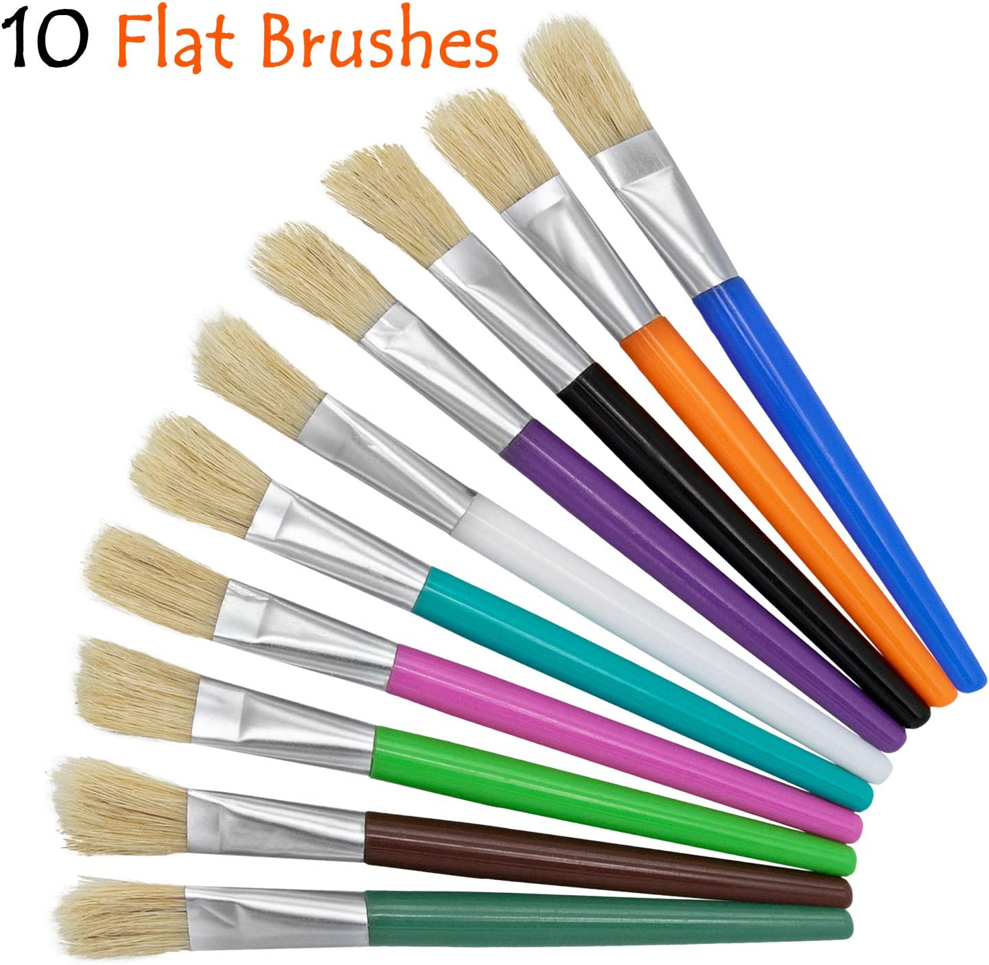 glokers 20-Piece Kids Paint Brushes Set with Paint Palette /& 6 Washable Paints -10 Flat Brushes /& 10 Round Brushes Ultra-Smooth Non-Toxic Craft Paints Easy to Clean Kid-Friendly