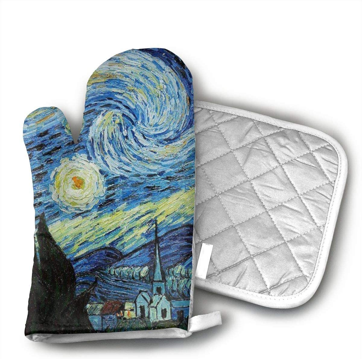 Jiqnajn6 Van Gogh's Paintings Oven Mitts,Heat Resistant Oven Gloves, Safe Cooking Baking, Grilling, Barbecue, Machine Washable,Pot Holders.