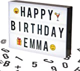 Cosi Home® A4 Cinematic Light Box with 100 Letters, Emoji, Smilies and Symbols - Personalise your own Message - Battery and USB Power
