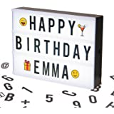 A4 Cinematic LED Light Box Sign | A4 Vintage Style Light Up Message and Note Sign – Personalise your own message with 100 Letters, Smiles & Symbols | Battery and USB Power (1.5m USB Cable Included)