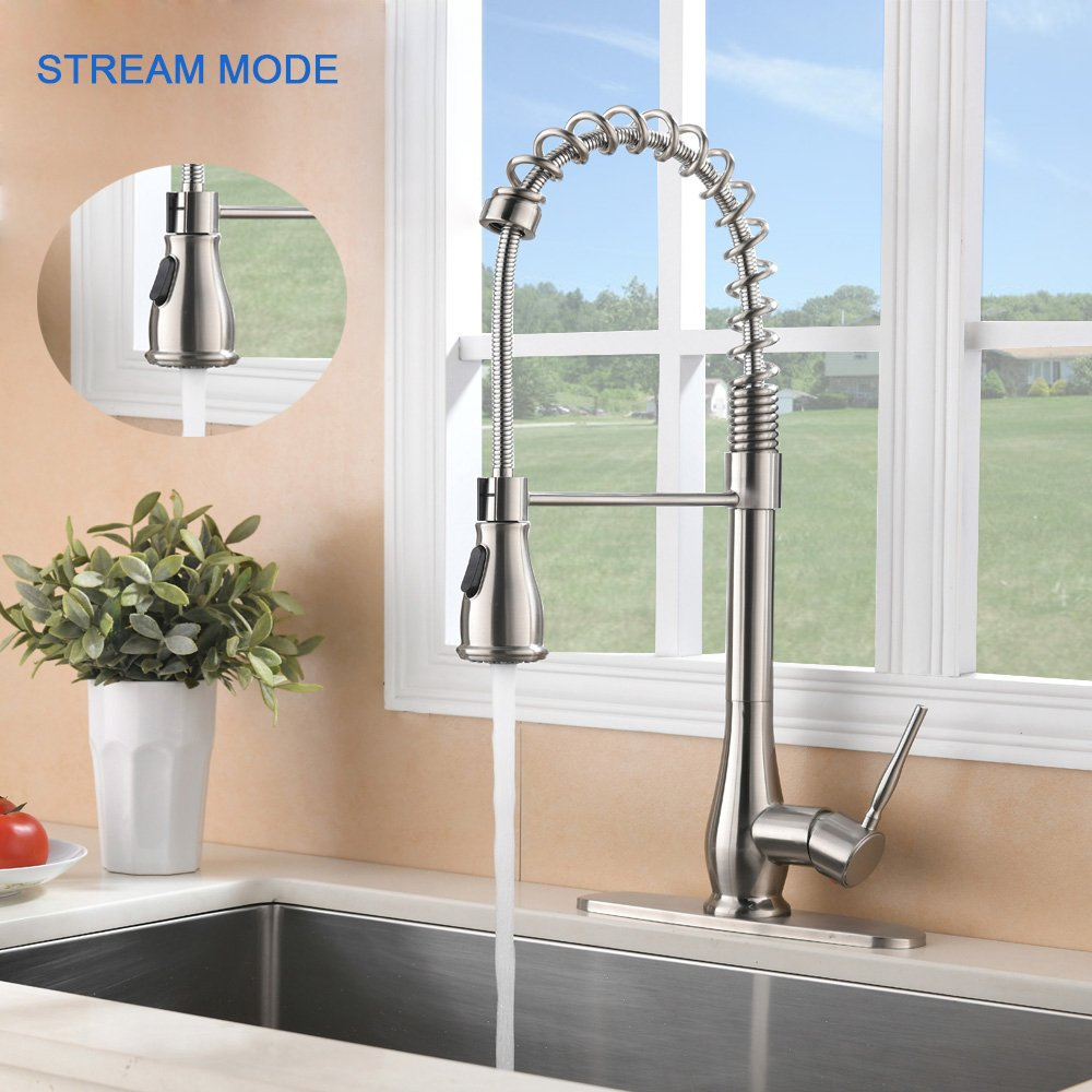 VAPSINT Beauty High-end Luxury Super High Arch Brushed Nickel Kitchen Faucet, Kitchen Sink Faucets Included Deck Plate by VAPSINT (Image #3)