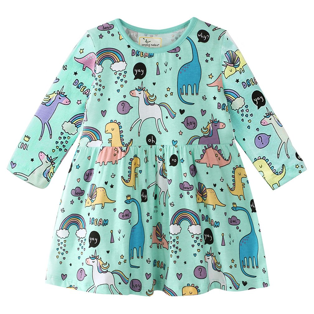 Little Girls Long Sleeve Dress Casual Cute Dinosaur Animal Print Dress for 1-7 Year