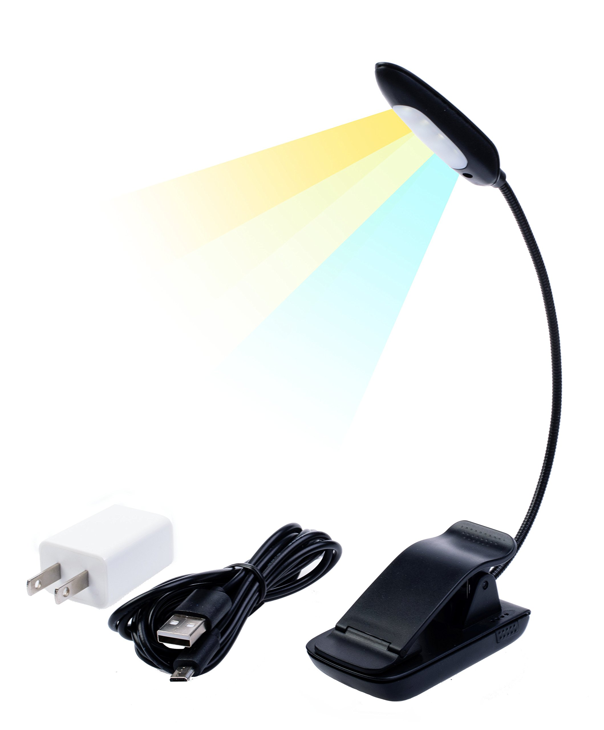 Eye Care Warm Book Light + Natural Light for Work + Cool Light to Study — 7 LED Portable Clip-On Lamp — 9 Settings — Reachargeable 70 Hours Reading — UL Charger 5V & 78in USB Cable — Bookworms Gift.