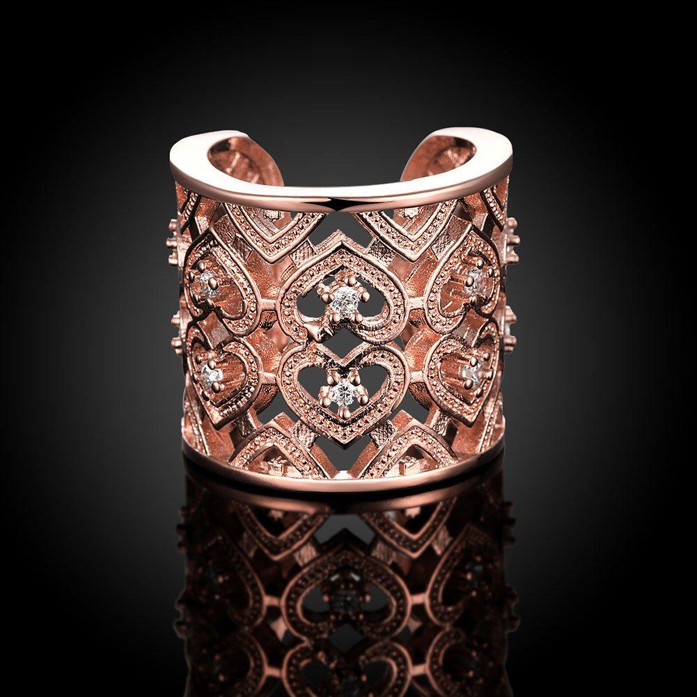 V-MONI Stone Heart-Shaped Open Ring Fashion Heart-Shaped Jewelry Zircon Ring Silver