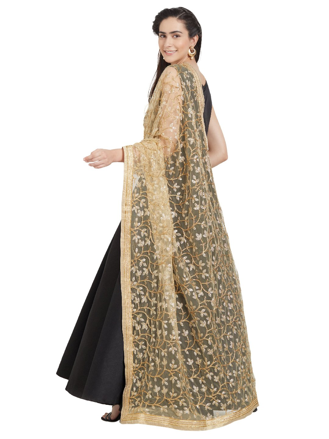 Dupatta Bazaar Woman's Gold Embroidered Net Dupatta