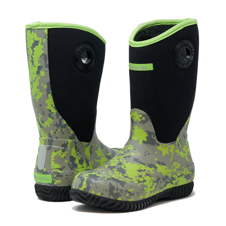 TALOUK Whipper Stomper- Unisex Little/Big Kids' Classic Waterproof Rubber Neoprene Rain Boots (5 M US Big Kid, Green Digital Camo)