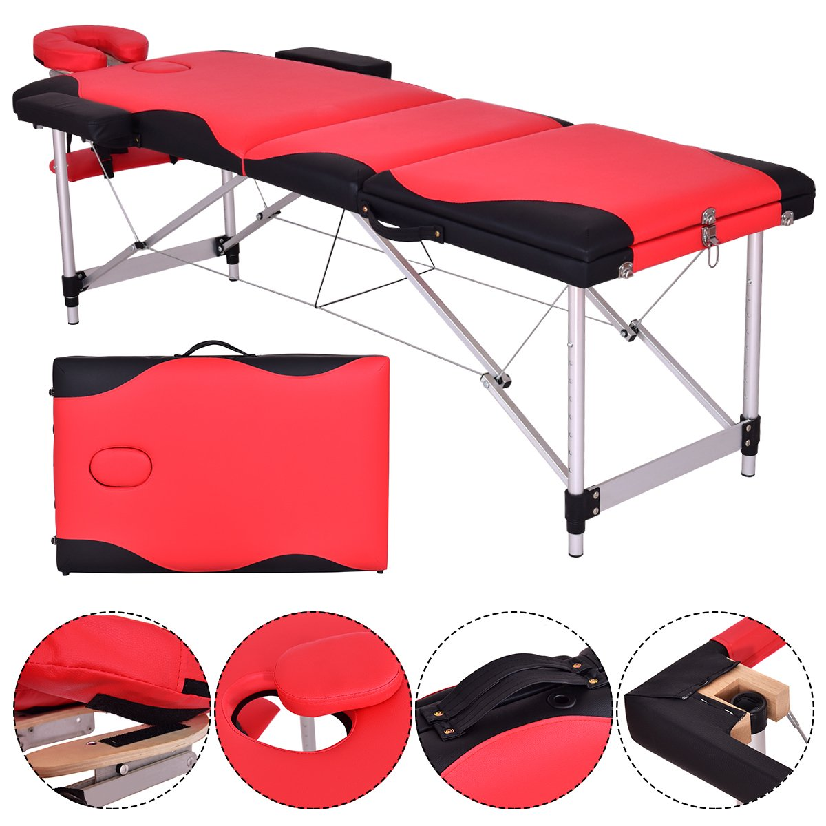 3 Folding Professional Aluminum Massage Table Bed, Reinforcement Portable Adjustable Massage for Salon Beauty Physiotherapy Facial SPA Tattoo Household(black) SAFEPLUS