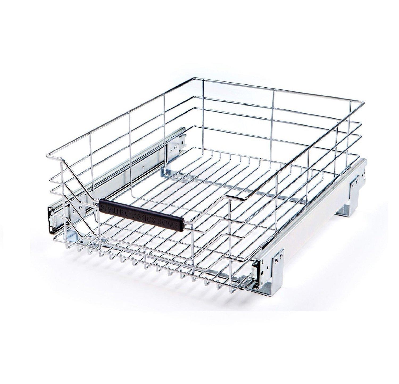 Amazon.com: Seville Classics Chrome Wire Sliding Storage Drawer 3 ...