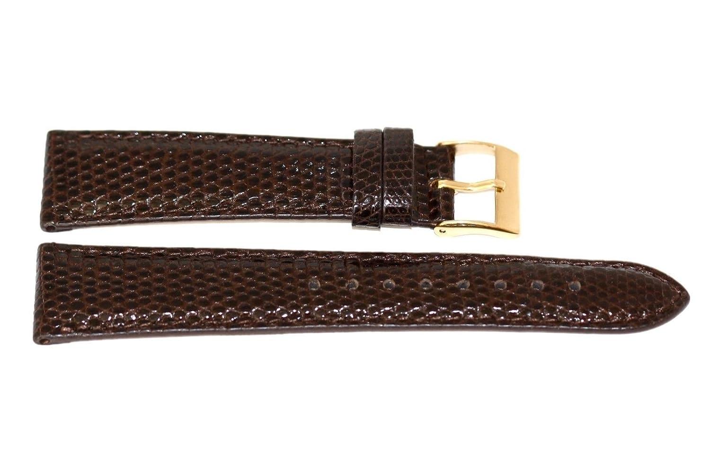 20 mm Genuine Lizard Extra Longブラウンレザー腕時計バンドストラップゴールドバックルXL  B077774VZP